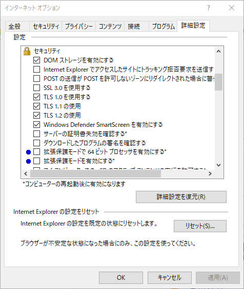 インターネットオプション(詳細設定)