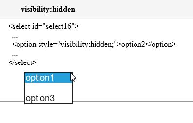 option2 is hidden.